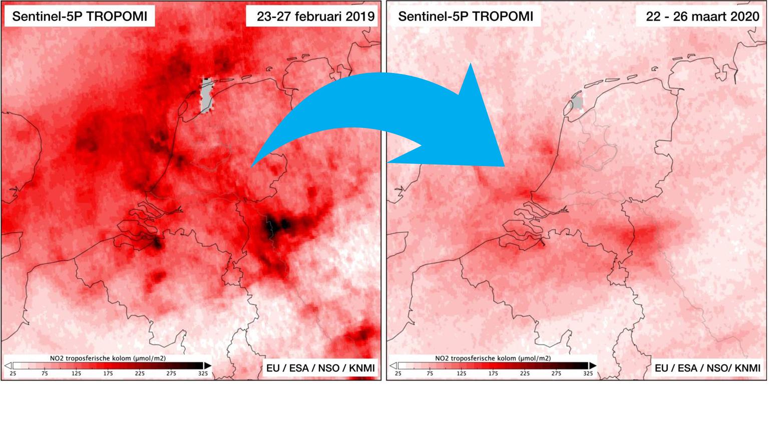 Ook in Nederland Schone Lucht door coronamaatregelen